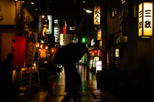 Rainy night in Shimbashi.